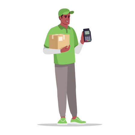 Cashless payment for delivery semi flat RGB color vector illustration. Deliveryman with parcel. Pay with terminal for package. Male african courier isolated cartoon character on white background Ilustração Vetorial