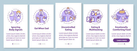 Bad eating habits onboarding mobile app page screen with concepts. Uncontrolled eating, ignoring body signals walkthrough 5 steps graphic instructions. UI vector template with RGB color illustrations