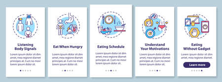 Healthy eating habits onboarding mobile app page screen with concepts. Schedule and listening body signals walkthrough 5 steps graphic instructions. UI vector template with RGB color illustrations Çizim