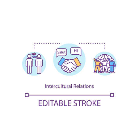 Intercultural relation concept icon. Multiracial exchange. International cooperation. Cultural diversity idea thin line illustration. Vector isolated outline RGB color drawing. Editable stroke