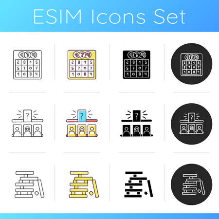 Leisure games icons set. Popular recreational activities. Wooden blocks, guess person game and lotto. Linear, black and RGB color styles. Games played for fun. Isolated vector illustrations