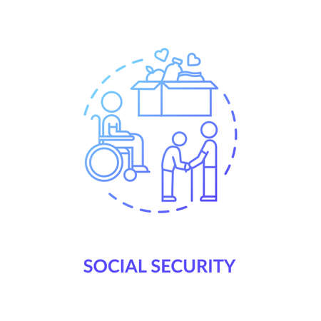 Social security concept icon. People in need help. Old age pensioners support. Voluntary service. Food donation idea thin line illustration. Vector isolated outline RGB color drawing