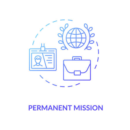 Permanent mission concept icon. International organisation idea thin line illustration. Foreign countries relationship. Embassy diplomat. Vector isolated outline RGB color drawing