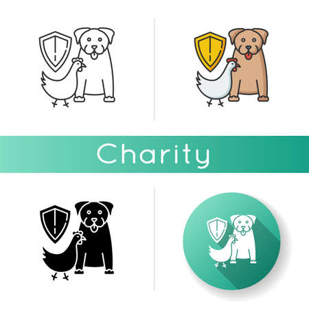Wildlife protection icon. Rescue domestic animal. Shelter campaign for pets. Center for saved species. Habitat preservation. Linear black and RGB color styles. Isolated vector illustrations