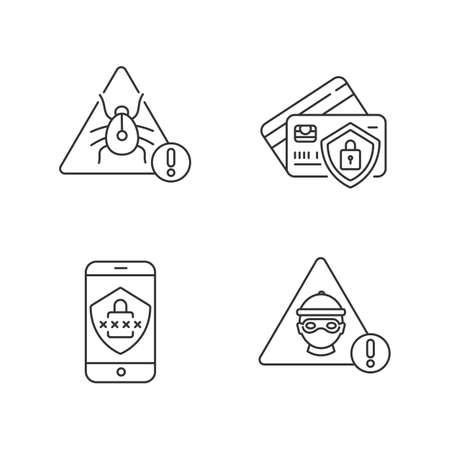 Cybersecurity pixel perfect linear icons set. Virus alert. Internet security system. Hacker attack. Customizable thin line contour symbols. Isolated vector outline illustrations. Editable stroke