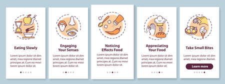 Eating rules onboarding mobile app page screen with concepts. Slow chewing and taking small bites walkthrough 5 steps graphic instructions. UI vector template with RGB color illustrations