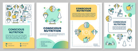 Conscious nutrition brochure template. Mindful eating. Flyer, booklet, leaflet print, cover design with linear icons. Vector layouts for magazines, annual reports, advertising posters