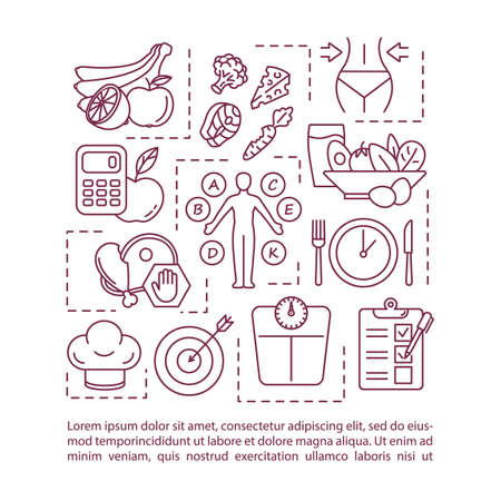 Dietary nutrition concept icon with text. Healthy eating, permitted and prohibited food. PPT page vector template. Brochure, magazine, booklet design element with linear illustrations Vecteurs