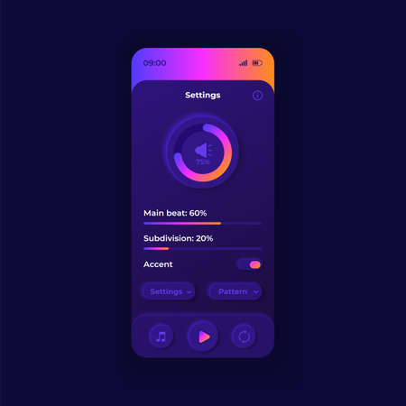 Metronome parameters smartphone interface vector template. Mobile app page dark design layout. Musicians auxiliary application screen. Flat UI for application. BPM settings on phone display 向量圖像