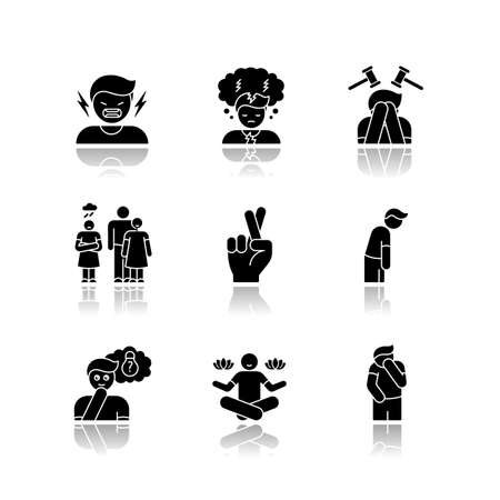 Feeling drop shadow black glyph icons set. Social and moral emotion. Psychological treatment. Positive attitude. Negative behaviour. Mental health. Isolated vector illustrations on white space Illustration
