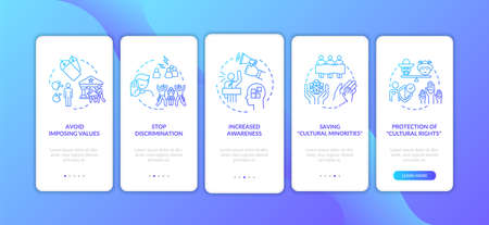 Stop racial hate onboarding mobile app page screen with concepts. Multiculturalism appreciation walkthrough 5 steps graphic instructions. UI vector template with RGB color illustrations