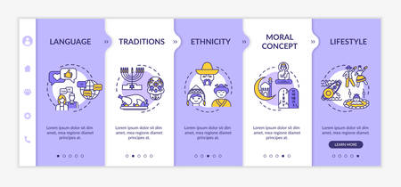 Multiculturalism onboarding vector template. National tradition. Multiethnical lifestyle. Culture and history. Responsive mobile website with icons. Webpage walkthrough step screens. RGB color concept