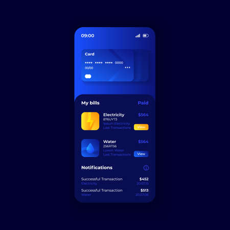 Credit card online management smartphone interface vector template. Mobile app page dark blue design layout. Banking account screen. Flat UI for application. Paid utility bills. Phone display