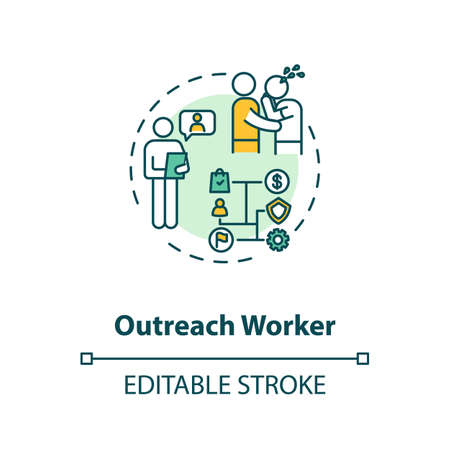Outreach worker concept icon. Community service idea thin line illustration. Nonprofit organization. People emotional support. Vector isolated outline RGB color drawing. Editable stroke Illustration