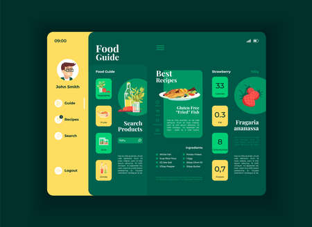 Healthy food tablet interface vector template. Mobile app page night mode design layout. Best lunch recipes screen. Flat UI for application. Food guide. Nutritious meal. Portable device display Vector Illustration