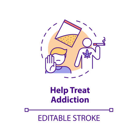 Help treat addiction concept icon. Quitting smoking program. Drugs dependence rehabilitation center thin line illustration. Vector isolated outline RGB color drawing. Editable stroke