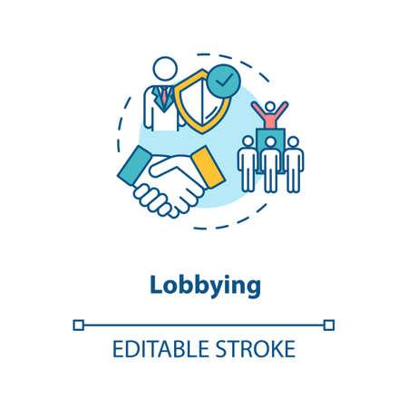 Lobbying concept icon. Social interest representation idea thin line illustration. Government persuasion. Legislators agreement. Vector isolated outline RGB color drawing. Editable stroke