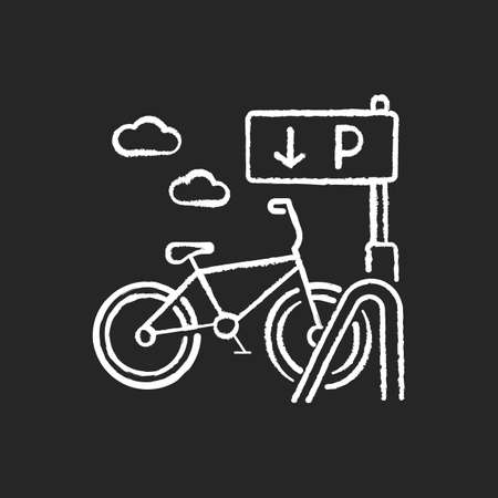 Bicycle parking rack chalk white icon on black background. Ecological transportation. Corporate parking lot with road sign. Navigation pointer for bike. Isolated vector chalkboard illustration Illusztráció