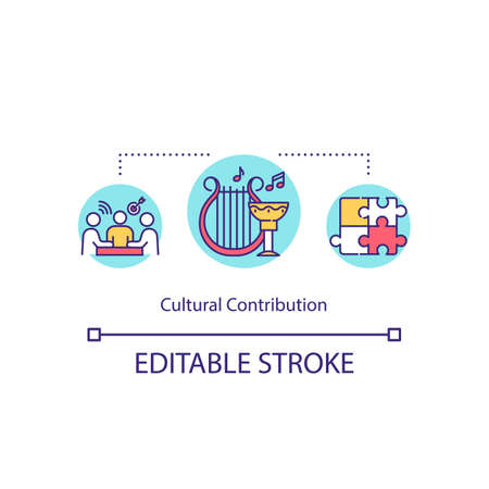 Cultural contribution concept icon. Inclusion of different ethnicity in workplace. Multiracial team cooperation idea thin line illustration. Vector isolated outline RGB color drawing. Editable stroke 版權商用圖片 - 148096496