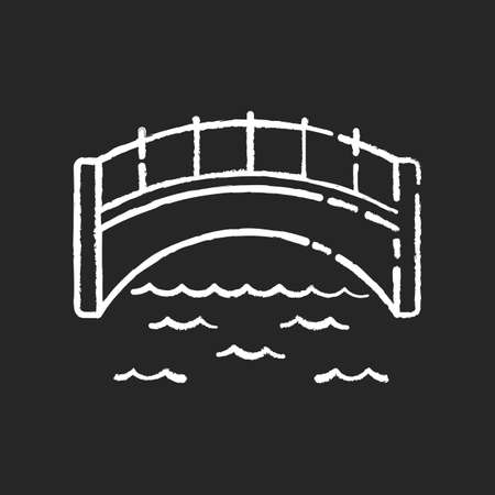 Bridge chalk white icon on black background. Engineer structure for walk. Concrete passage on pillar. Elevated road for transportation transit. Isolated vector chalkboard illustration