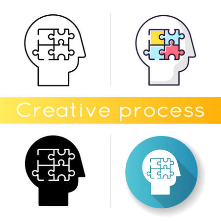 Elaboration icon. Puzzled mind. Logical mindset. Counseling for psychological problem. Analysis for smart solution. Human memory. Linear black and RGB color styles. Isolated vector illustrations