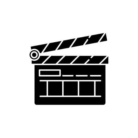 Clapperboard black glyph icon. Filmmaking industry. Video and TV production. Cinematography slate board. Movie shooting. Silhouette symbol on white space. Vector isolated illustration Çizim