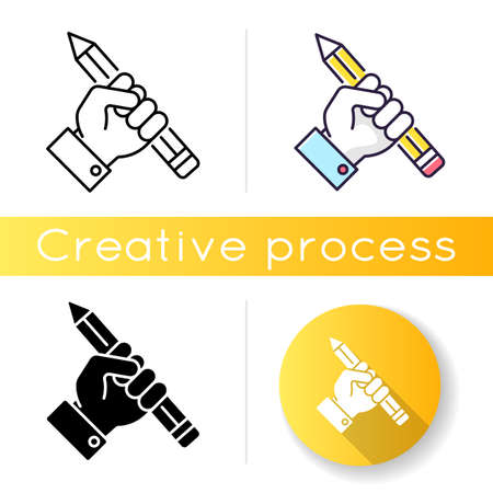 Research icon. Creative writing. Freedom of speech. Freelancer workshop. Journalism success. Motivated author. Inspired designer. Linear black and RGB color styles. Isolated vector illustrations
