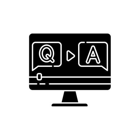 Question and answer video black glyph icon. Journalist interview footage. Blogger Q and A stream. Online quiz. Informational content. Silhouette symbol on white space. Vector isolated illustration