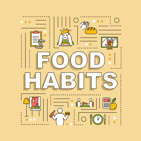 Food habits word concepts banner. Healthy and unhealthy nutrition, diet and overeating. Infographics with linear icons on orange background. Isolated typography. Vector outline RGB color illustration