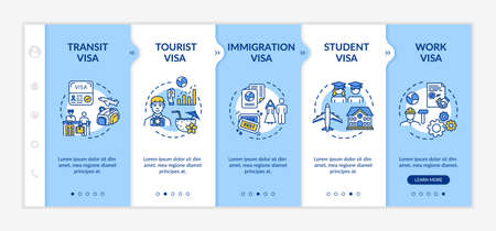 Visa approval onboarding vector template. Legal document for border control. Identity registration. Responsive mobile website with icons. Webpage walkthrough step screens. RGB color concept