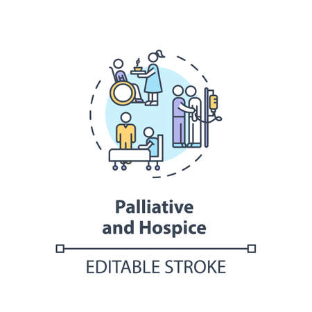 Palliative and hospice concept icon. Patient with chronical illness caregiving service idea thin line illustration. Social work. Vector isolated outline RGB color drawing. Editable stroke