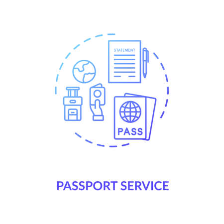Passport service concept icon. Abroad travel. Visa application. Airplane ticket. Boarding pass idea thin line illustration. Vector isolated outline RGB color drawing