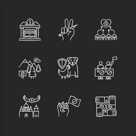 Community support chalk white icons set on black background. Public strike. Money donation to library. Support free education. Protect wildlife, animal right. Isolated vector chalkboard illustrations