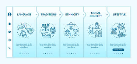 Cultural diversity onboarding vector template. National tradition. Multi ethnic lifestyle. Responsive mobile website with icons. Webpage walkthrough step screens. RGB color concept