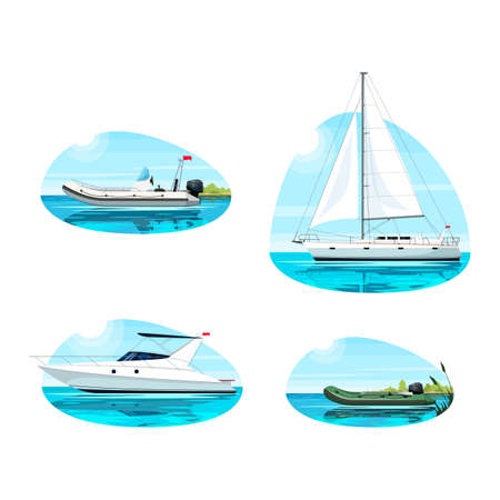 Boat for recreation semi flat vector illustration set. Boat in ocean for rental. Regatta for summer relaxation. Inflatable speed boat for fishing. Maritime 2D cartoon objects for commercial use