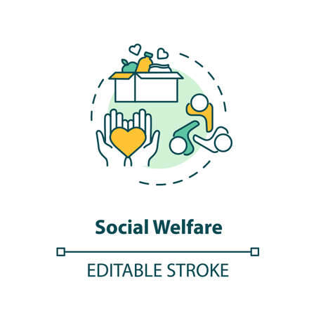 Social welfare concept icon. Charity idea thin line illustration. Nonprofit organization. Community service. Food donation. Humanitarian aid. Vector isolated outline RGB color drawing. Editable stroke