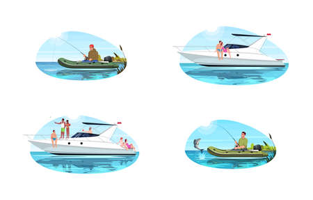 Speed boats for recreation semi flat vector illustration set. Man fishing with rod. Family on boat trip. Couple on date on private sailboat. Vacation 2D cartoon characters for commercial use 版權商用圖片 - 148095984
