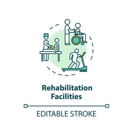 Rehabilitation facilities concept icon. Rehab clinical center. Physiotherapy thin line illustration. Medical rehabilitation. Vector isolated outline RGB color drawing. Editable stroke