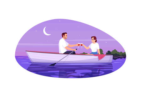 Adult couple semi flat vector illustration. Boyfriend and girlfriend. People flirting in boat. Man and woman drink wine together. Romantic night date 2D cartoon characters for commercial use