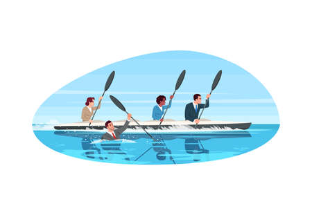 Competitive work semi flat vector illustration. Multi ethnic team work together. Risk at rivalry. Career challenge metaphor. Multi cultural work group 2D cartoon characters for commercial use