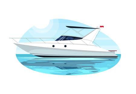 Luxus-Schnellboot halb flach Vektor-Illustration. Schnellboot für Kreuzfahrt. Private Yacht für die Sommererholung. Seeschiff. Seetransport. Premium-Segelboot 2D-Cartoon-Objekt für die kommerzielle Nutzung
