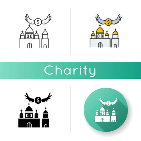 Church donation icon. Charity for religious community. Contribution to christian congregation. Offer money to support holy ceremony. Linear black and RGB color styles. Isolated vector illustrations Vectores