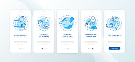 Eating rules, healthy nutrition onboarding mobile app page screen with concepts. Noticing effects food walkthrough 5 steps graphic instructions. UI vector template with RGB color illustrations