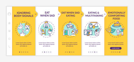 Unhealthy nutrition, bad eating habits onboarding vector template. Emotionally comforting food, late dinner. Responsive mobile website with icons. Webpage walkthrough step screens. RGB color concept Vektoros illusztráció