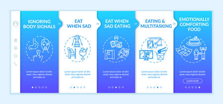 Unhealthy nutrition onboarding vector template. Emotionally comforting food, late dinner, eating when sad. Responsive mobile website with icons. Webpage walkthrough step screens. RGB color concept