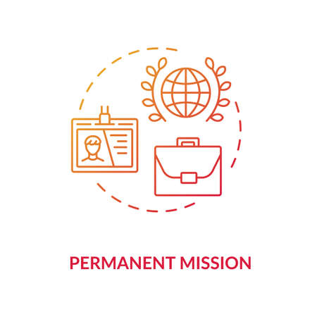 Permanent mission concept icon. International organisation idea thin line illustration. Foreign countries relations. Embassy diplomat. Vector isolated outline RGB color drawing