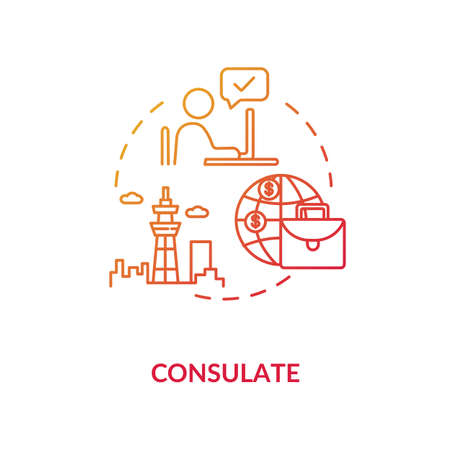Consulate concept icon. Diplomatic mission. International organisation idea thin line illustration. Foreign country official representative. Vector isolated outline RGB color drawing Vecteurs