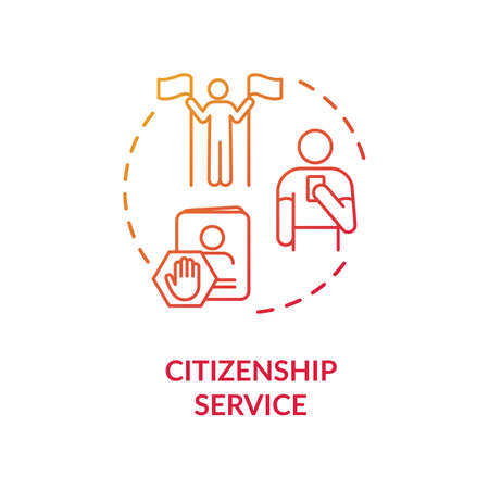 Citizenship service concept icon. Foreign country legal migration. Country resident document application idea thin line illustration. Vector isolated outline RGB color drawing Vektorgrafik