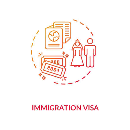 Immigration visa concept icon. Foreign country legal migration. Married couple residential document idea thin line illustration. Vector isolated outline RGB color drawing