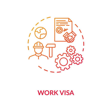 Work visa application concept icon. Foreign country legal immigration. Temporary worker. Employment idea thin line illustration. Vector isolated outline RGB color drawing